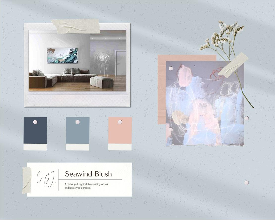 moodboard Wandfarbe und hellblaue Bilder