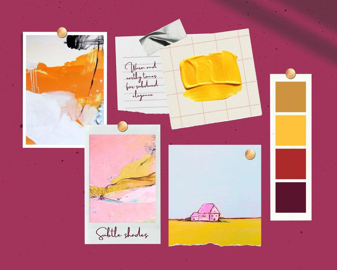 moodboard Wandfarbe und gelb rosa Bilder