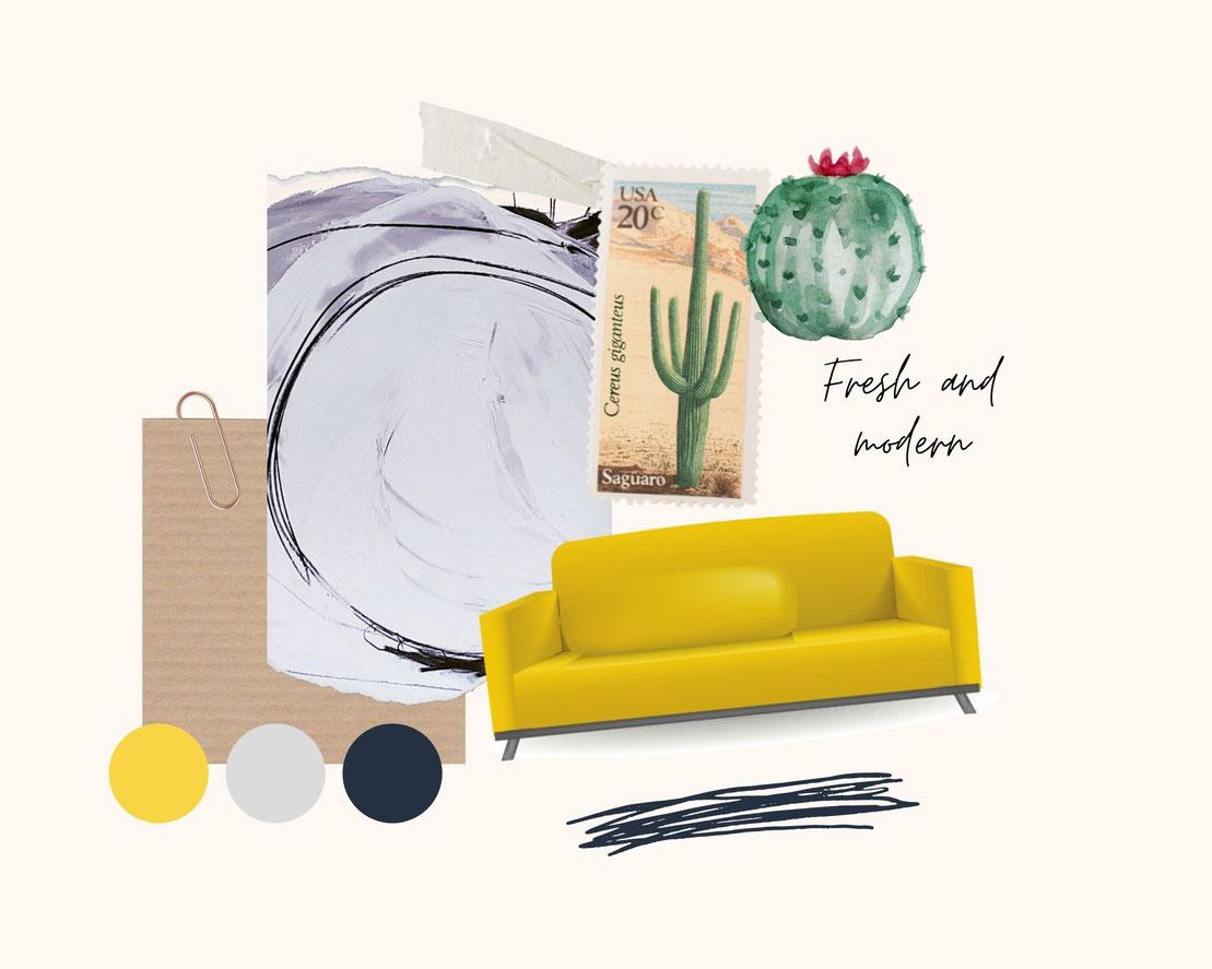 moodboard Wandfarbe und gelbe Bilder