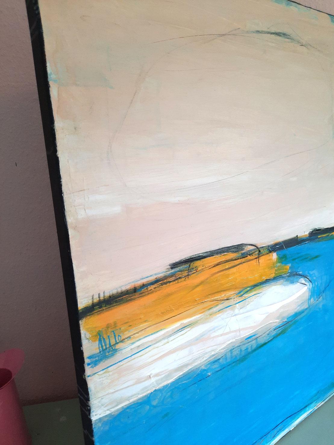 Detail Bild beige blau orange