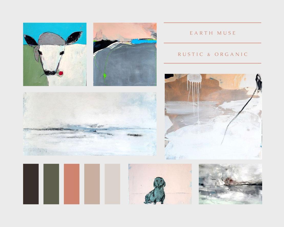 moodboard Wandfarbe und helle abstrakte Bilder