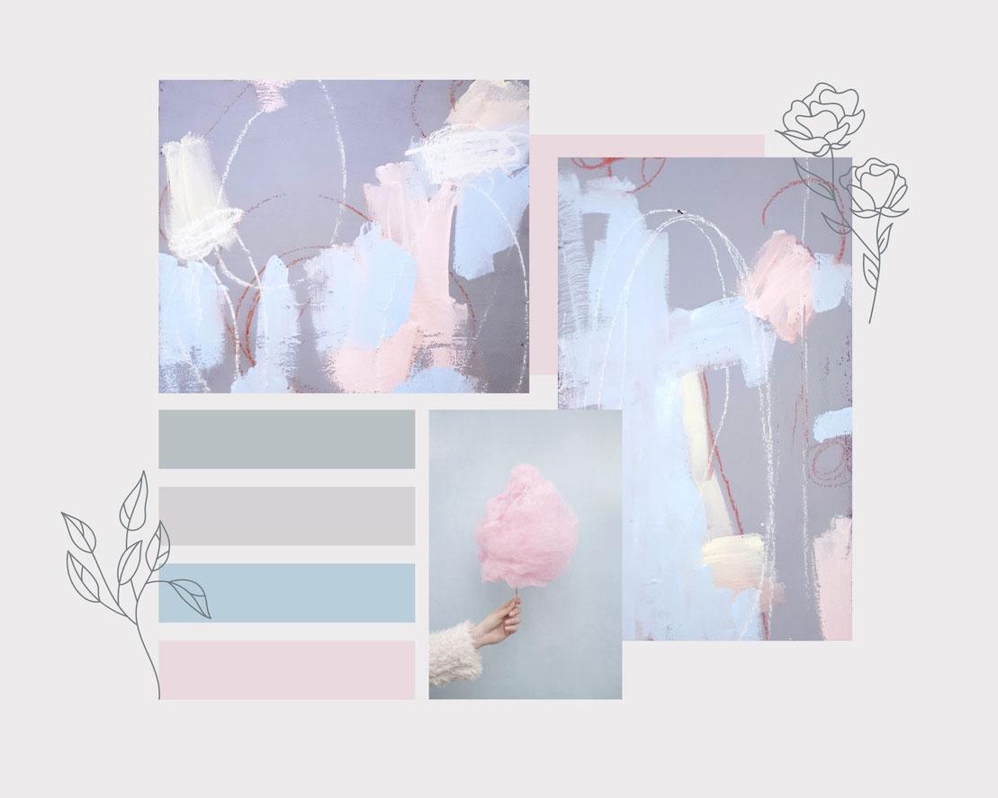 moodboard Wandfarbe und rosa hellblaue Bilder