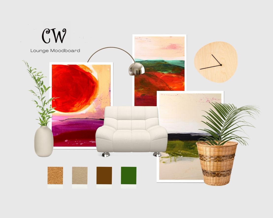 moodboard Wandfarbe und goldene beige weinrote Bilder