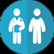 Grafik von Arzt und Patient wegen Bedeutung der Patientenrechte bei der Huntington-Krankheit / Chorea Huntington