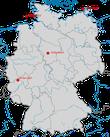 Karte zu den Nachweisen der Blaumerle in Deutschland