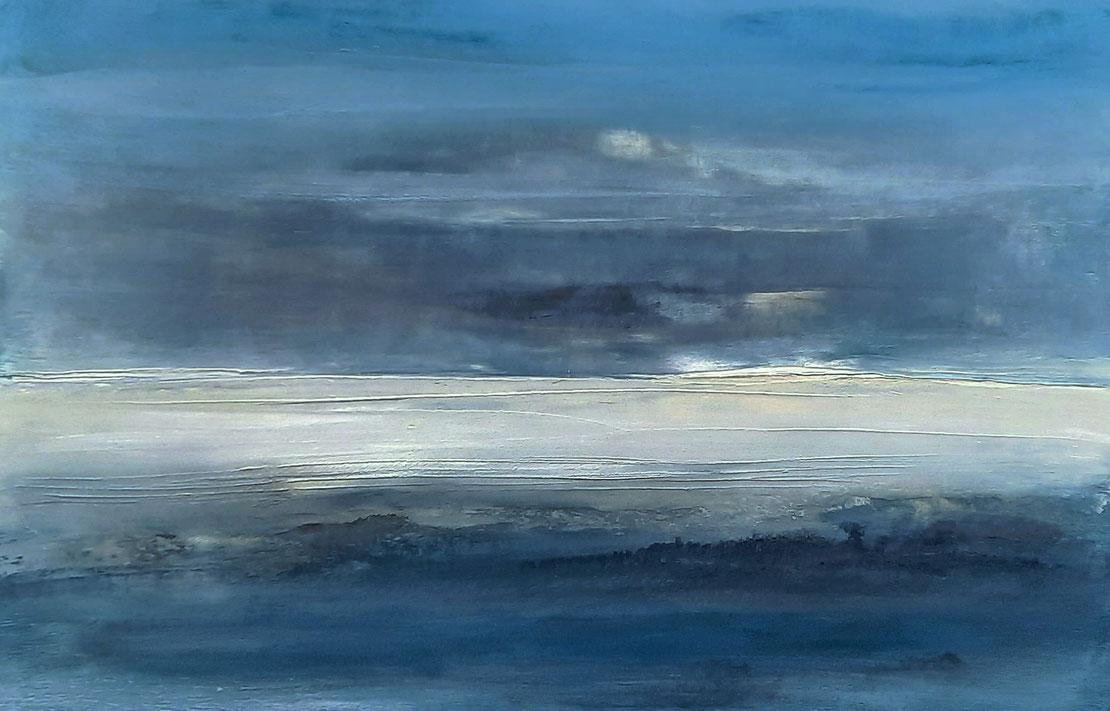 Bild - 150 x 100 cm Blau - Landschaftsbild