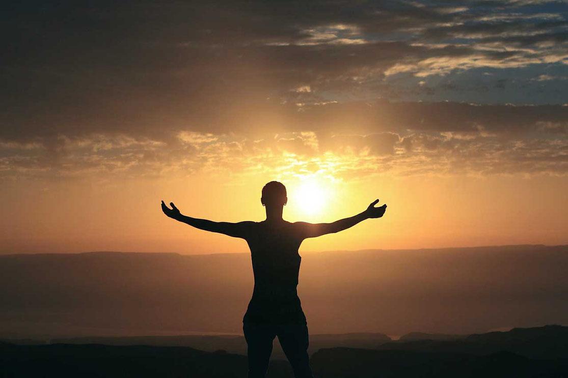 positive Affirmation Ausführung Selbstbewusstsein Sonnenuntergang