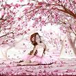 La fille et les fleurs cerisiers