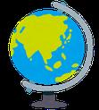 地球儀のイラストです。ふくろう事務所は外国人雇用をサポートします。