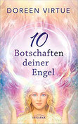 Weiblicher Engel umgeben von rosa-weiß-goldenem Licht. Über ihr schwebt eine durchsichtige Kugel.schwebt.