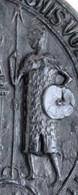"""Ausschnitt """"Totius-Frisiae""""-Siegel, Appingedam, 13.3.1338"""