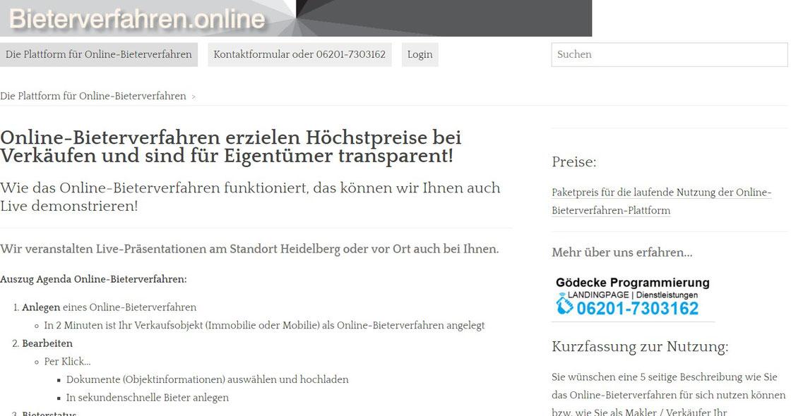 Die Online-Bieterverfahren-Plattform für Makler: Weltweit Mobilien oder Immobilien im Online-Bieterverfahren zum Höchstgebot vermarkten!