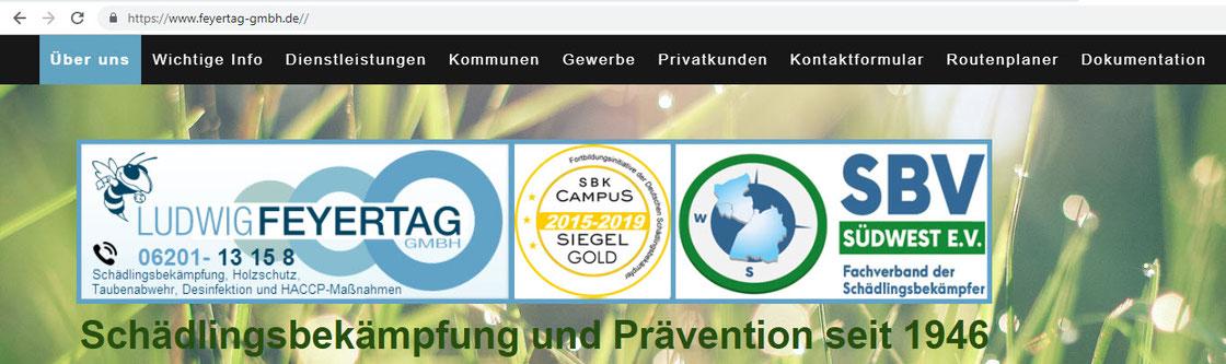Mit 1 Klick ins Bild zur Homepage des Schädlingsbekämpfer-Unternehmen Ludwig Feyertag GmbH
