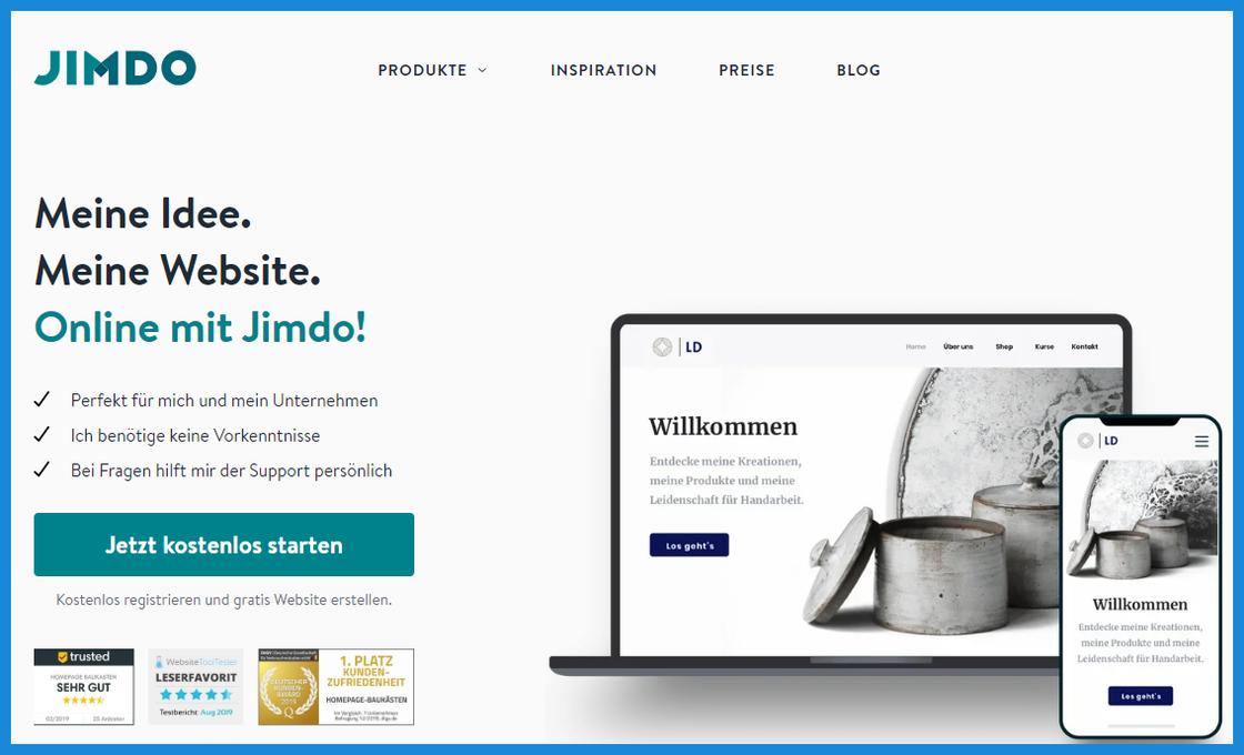 Aktuelles Bild der JIMDO-Startseite um kostenlos mit dem Bau der eigenen Homepage zu beginnen. | Stand 08.05.2020