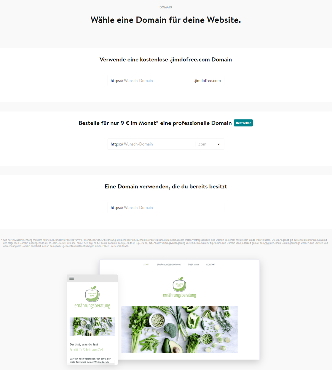 BILD 7: JIMDO Wähle eine Domain für deine Webseite