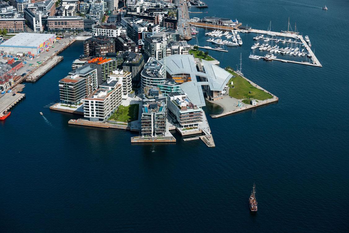 The Thief Hotel und das Tjuvholmen Hafengebiet von Oslo