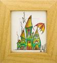 Häuser, grün, Schirm, gerahmt, Aquarell, handgemalt von Künstlerin JULIA! Neulinger -Kahl