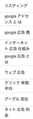 Google広告キーワード検索結果