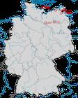 Karte zu den Nachweisen des Kanadakranichs in Deutschland