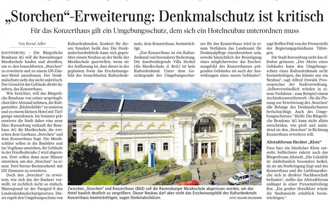 Artikel aus der Schwäbischen Zeitung vom 27. 11. 2017, Ausgabe Ravensburg