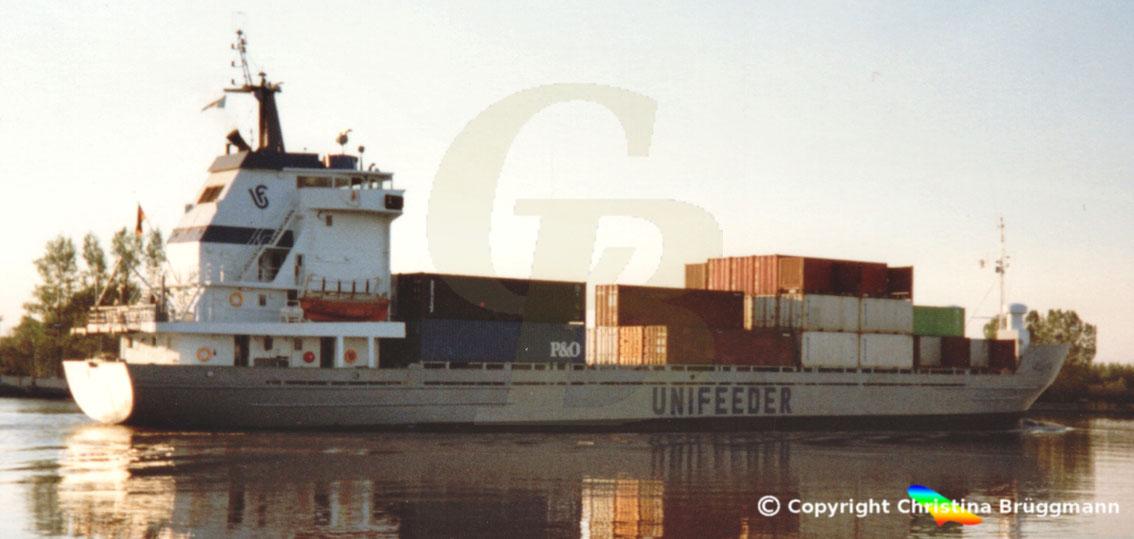 Feeder-Containerschiff ALITA, Nord-Ostsee Kanal 1989