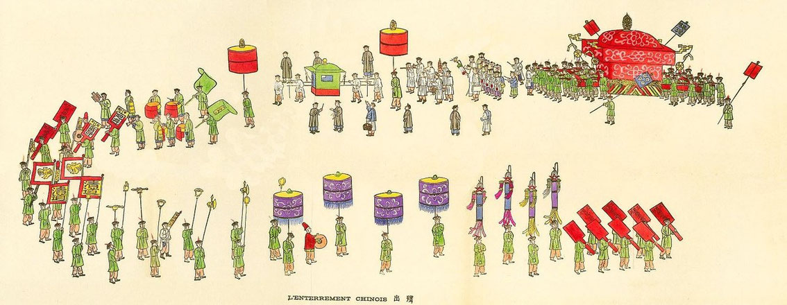 L'enterrement chinois. Jean BOUCHOT (1886-1932) : Scènes de la vie des hutungs. Croquis des mœurs pékinoises.