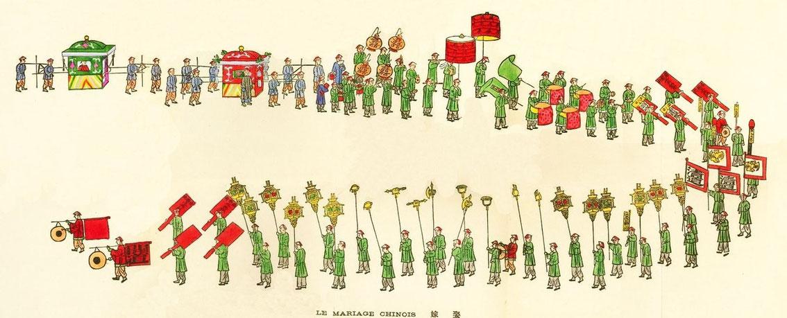 Le mariage chinois. Jean BOUCHOT (1886-1932) : Scènes de la vie des hutungs. Croquis des mœurs pékinoises.