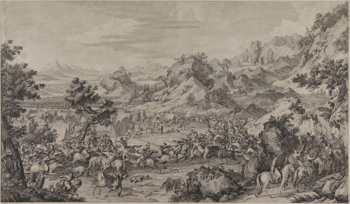 On force le camp [établi] à Gädän-ola. H. Cordier.Les conquêtes de l'empereur de la Chine Mémoires concernant l'Asie orientale, Paris, 1913.