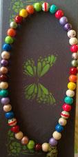 Collar de bolas de madera pintadas