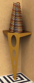 Console de coin couleur or satiné pour exposer une oeuvre d'art ou un produit à la vente.