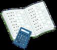 電卓と帳簿のイラストです。行政書士ふくろう事務所は会計記帳をサポートします。