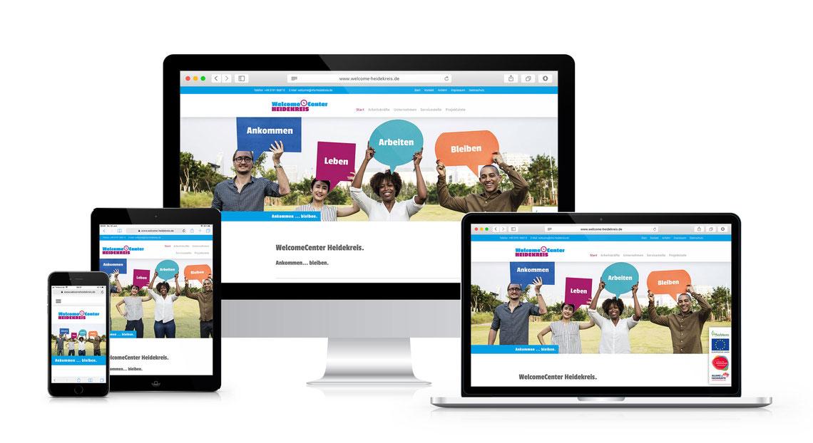 Screenshots von verschiedenen Geräten der Website auf www.welcome-heidekreis.de