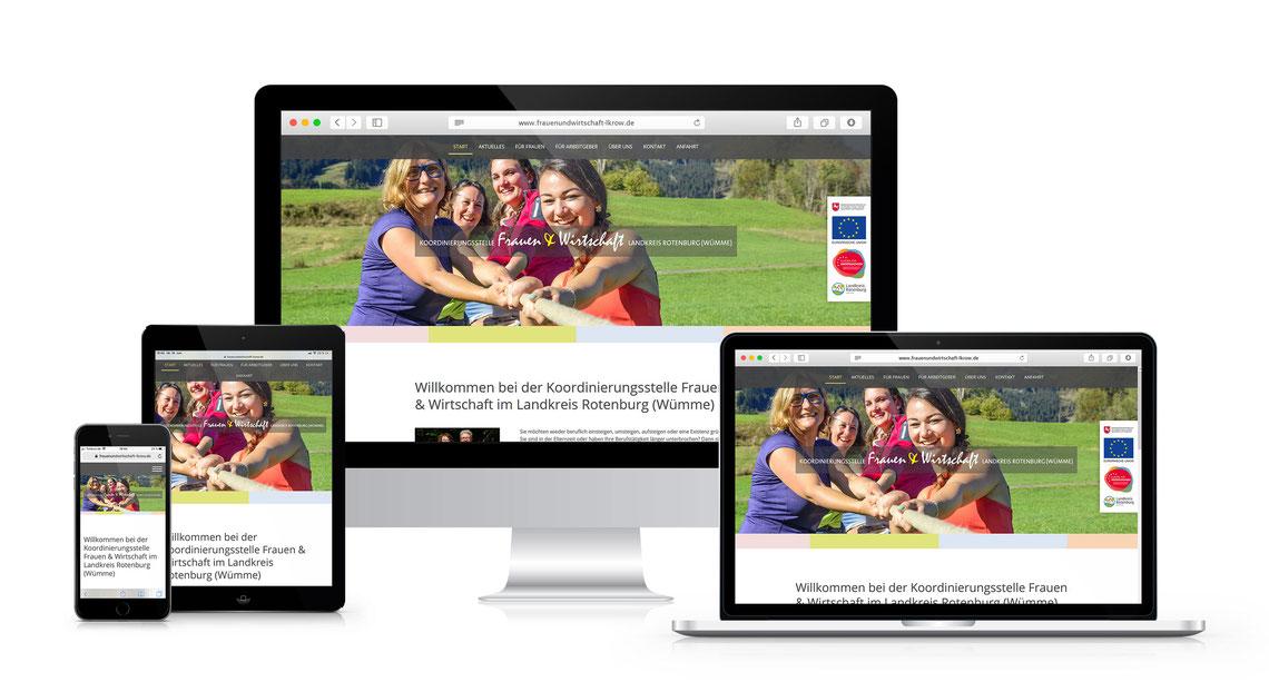 Screenshots von verschiedenen Geräten der Website auf www.frauenundwirtschaft-lkrow.de