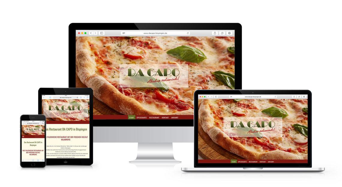 Screenshots von verschiedenen Geräten der Website auf www.dacapo-bispingen.de