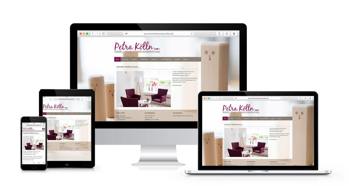 Screenshots von verschiedenen Geräten der Website auf www.familienberatung-soltau.de