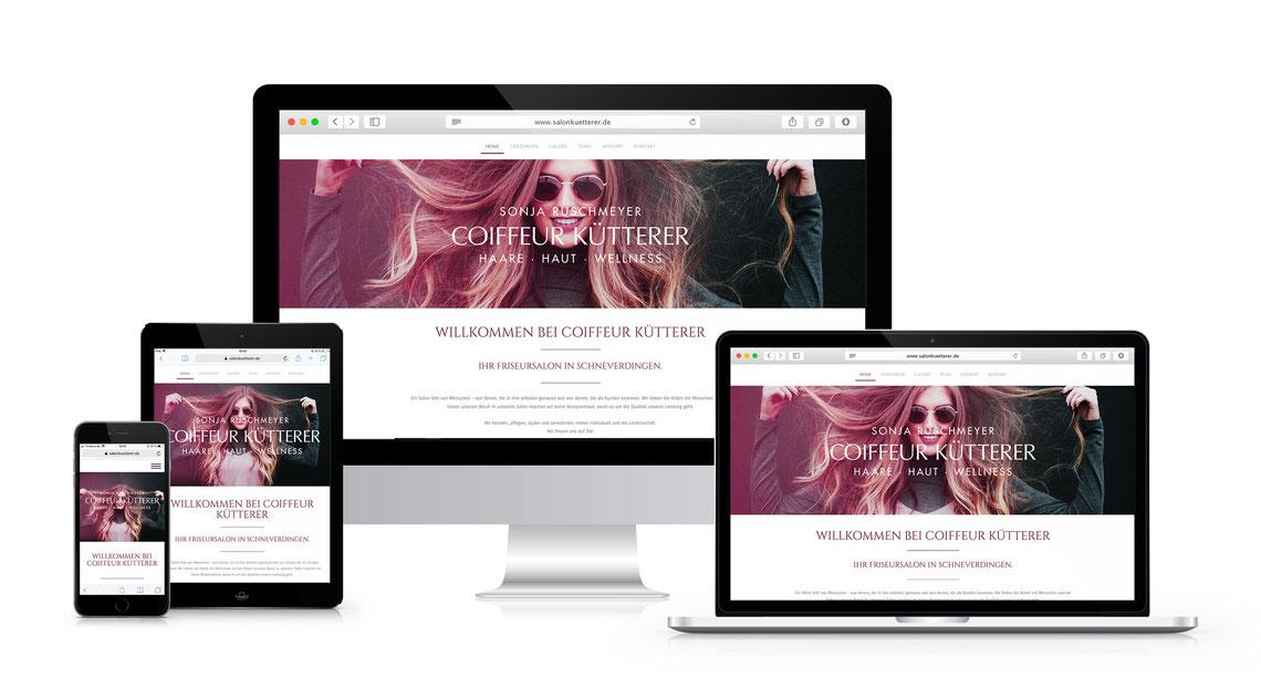 Screenshots von verschiedenen Geräten der Website auf www.salonkuetterer.de