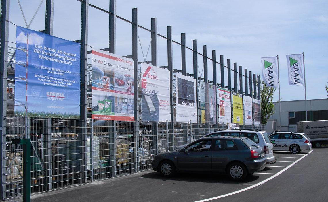 Blickwerbung Crailsheim - Bauzaunwerbung, Bannerwerbung, Banner gesäumt und geöst im Kreis Schwäbisch Hall