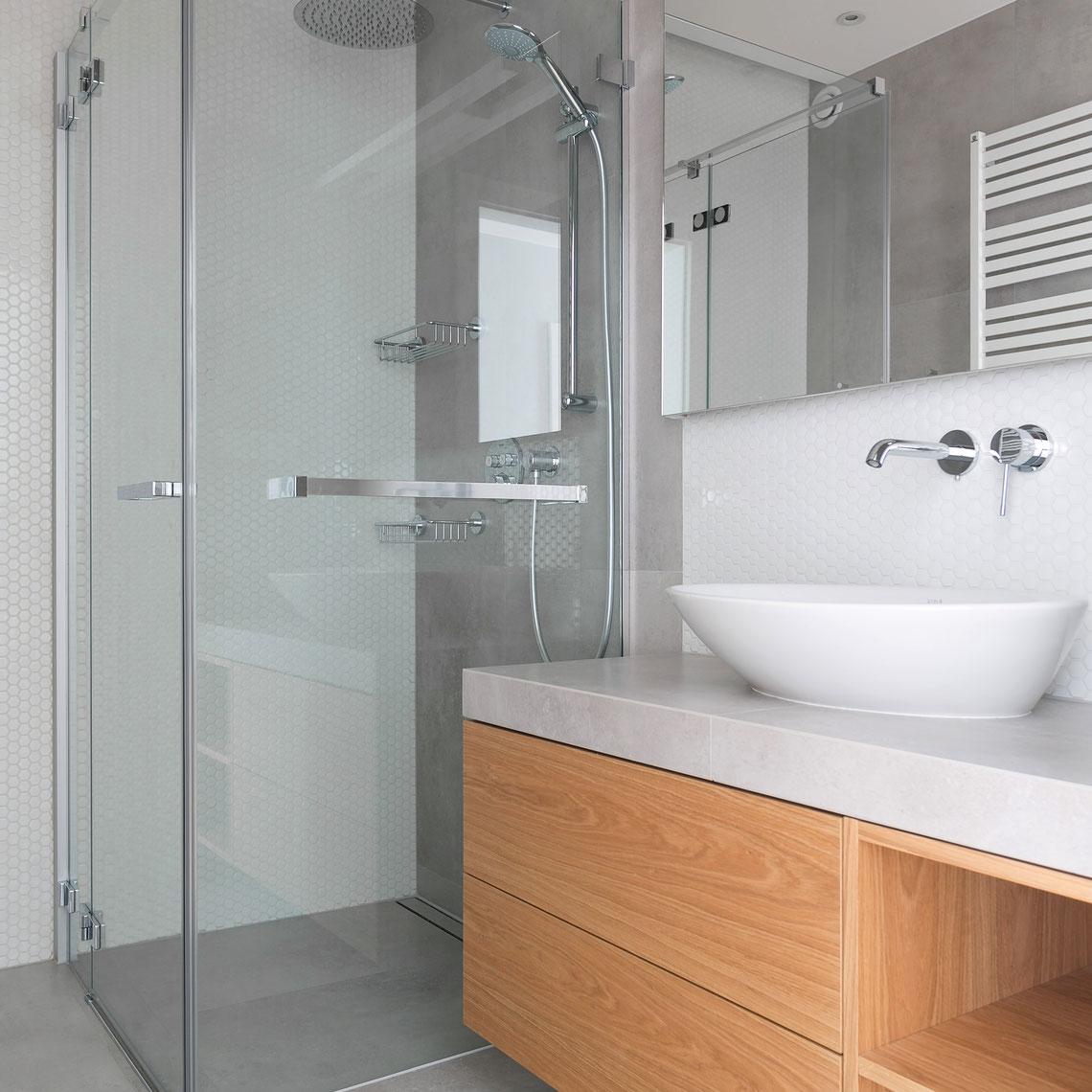 projekt minimalistycznej, skandynawskiej łazienki