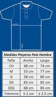 Tallas de playeras polo en centimetros HOMBRE