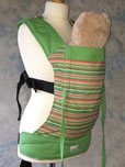 Green and stripey wrap fabric panel custom made full buckle baby carrier