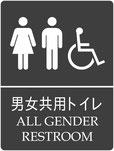 英語併記男女共用トイレサイン 多目的トイレ