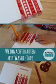 Wir zeigen euch, wie ihr mit Washi Tape tolle Weihnachtskarten basteln könnt.