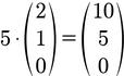 Beispiel für die Berechnung der Skalarmultiplikation von 2D Vektoren