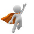 Person, die sich zu Superman entwickelt