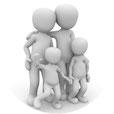 Familie mit zwei Kindern 3D Illustration