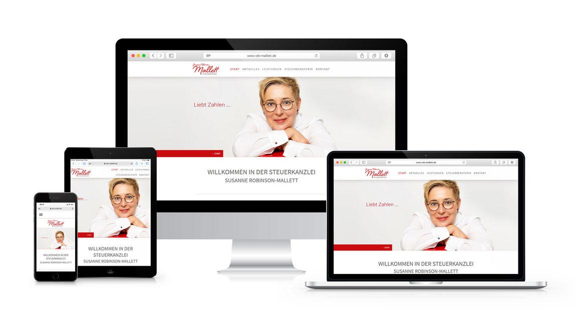 Screenshots von verschiedenen Geräten der Website auf www.stb-mallett.de
