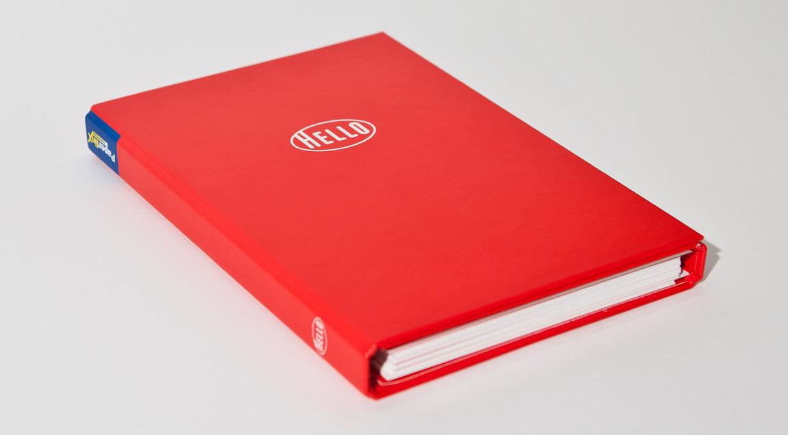 Hello Papiermusterbuch als Ringbuch mit geteilten Papiermuster für PaperlinX Deutschland