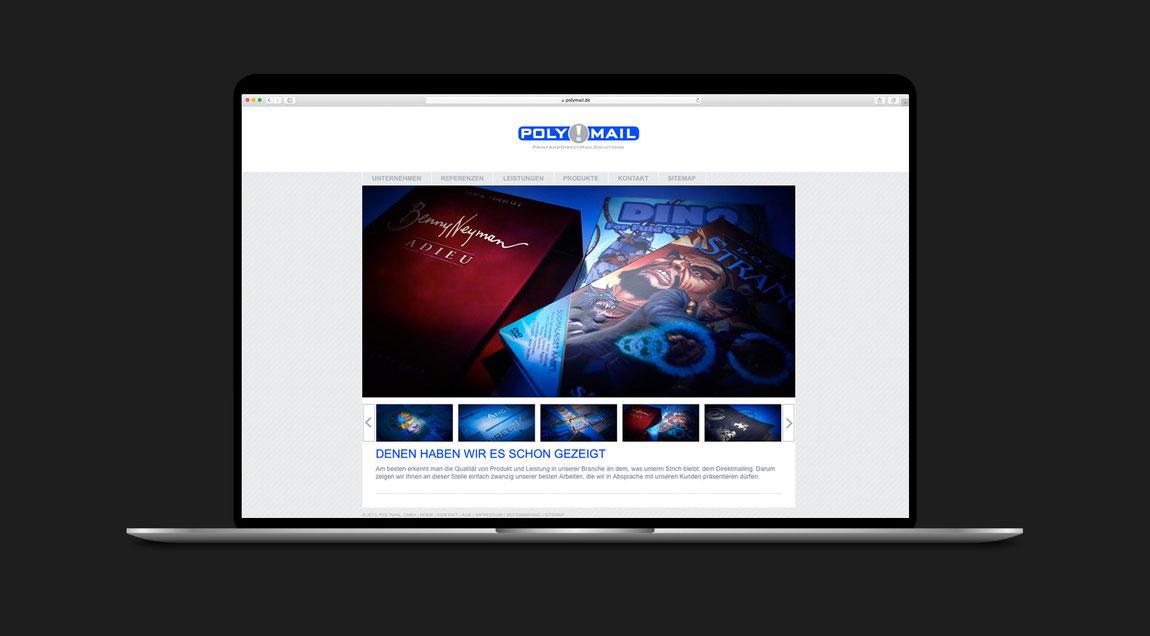 Website mit einem Augenzwinkern für Polymail – Print and Directmail Solutions aus Karlsruhe