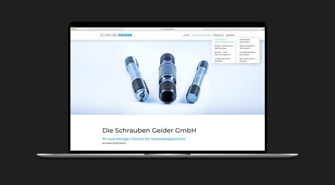 Website für die Firma Schraubengeider aus Hockenheim.