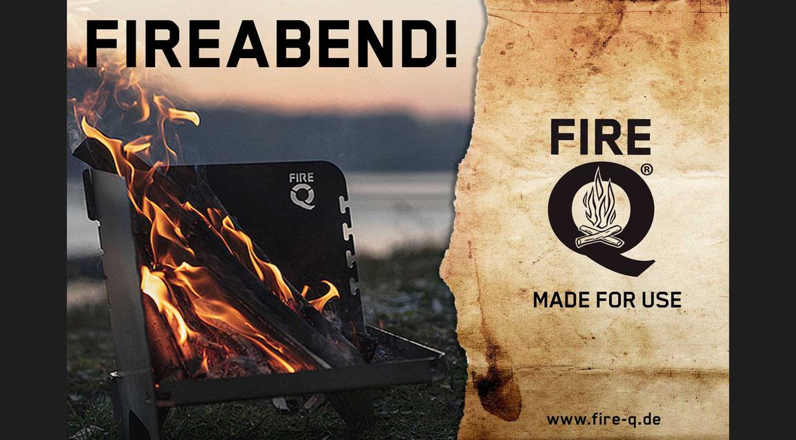 Modulare Anzeigenserie (Image- und Produktanzeigen) für den FireQ-Reisegrill.